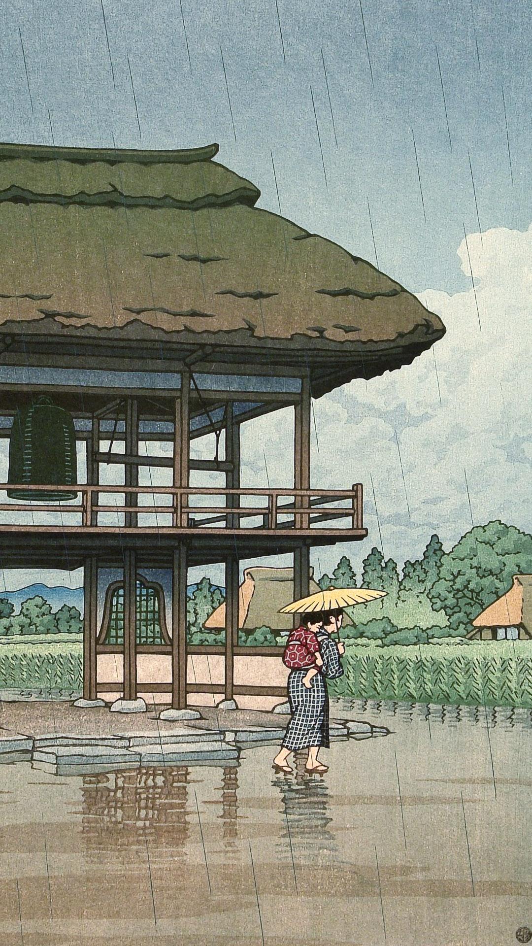川瀬巴水 宮崎源蔵寺 埼玉 Kawase Hasui - Miyazaki genzoji(saitama) 1080x1920