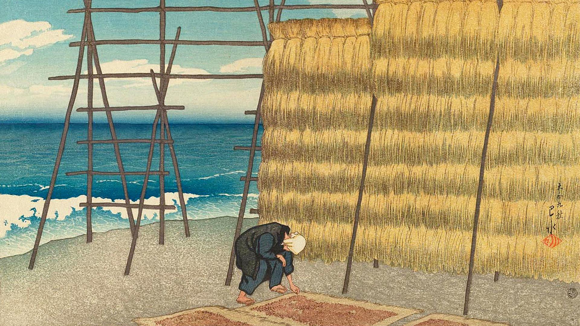 川瀬巴水 旅みやげ第一集 秋の越路 Kawase Hasui - Tabi miyage 1 Aki no koshiji 1920x1080