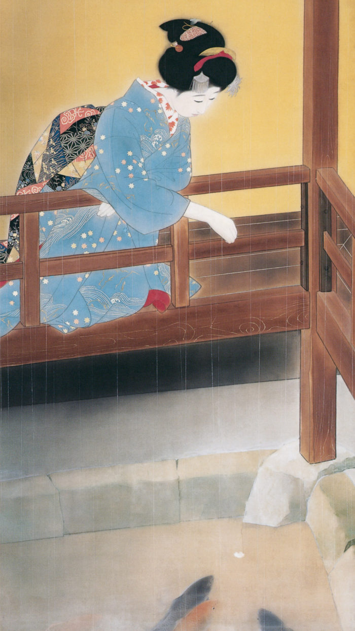北野恒富 五月雨 Kitano Tsunetomi - Samidare 1080x1920