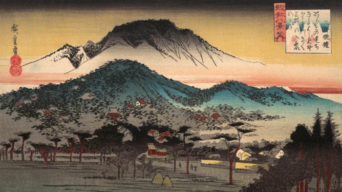 広重 三井晩鐘 Utagawa Hiroshige - Mii bansho 1920x1080