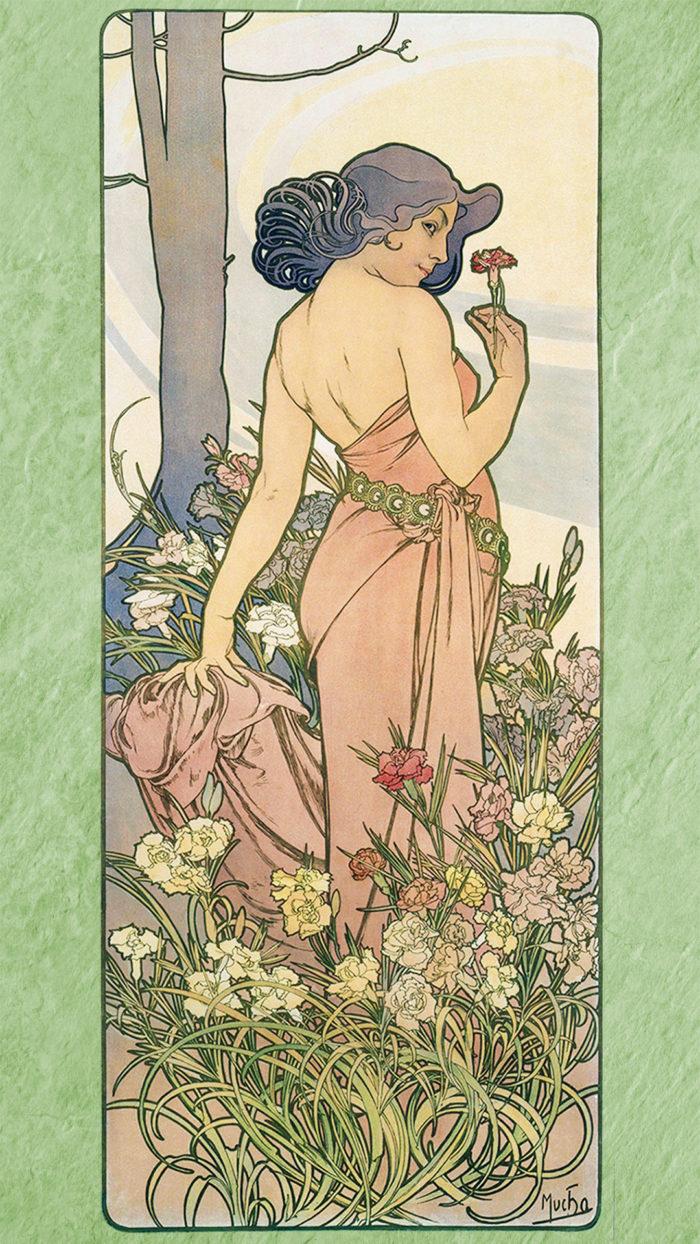 ミュシャ 四つの花 カーネーション Alfons Mucha - Four flowers carnation 1080x1920 2