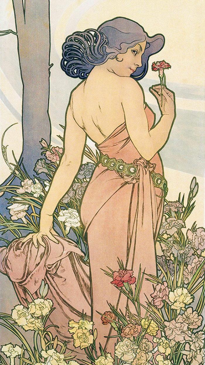 ミュシャ 四つの花 カーネーション Alfons Mucha - Four flowers carnation 1080x1920
