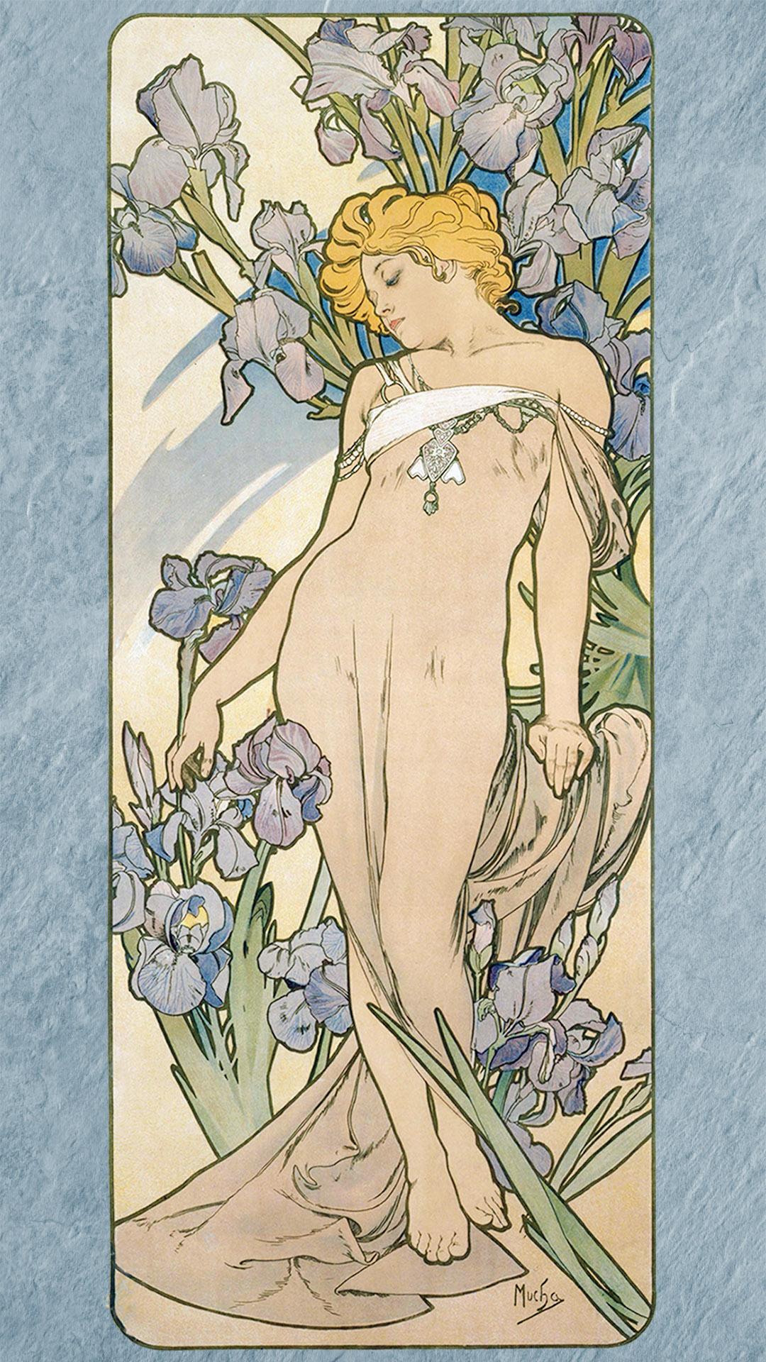ミュシャ 四つの花 アイリス Alfons Mucha - Four flowers iris 1080x1920 2