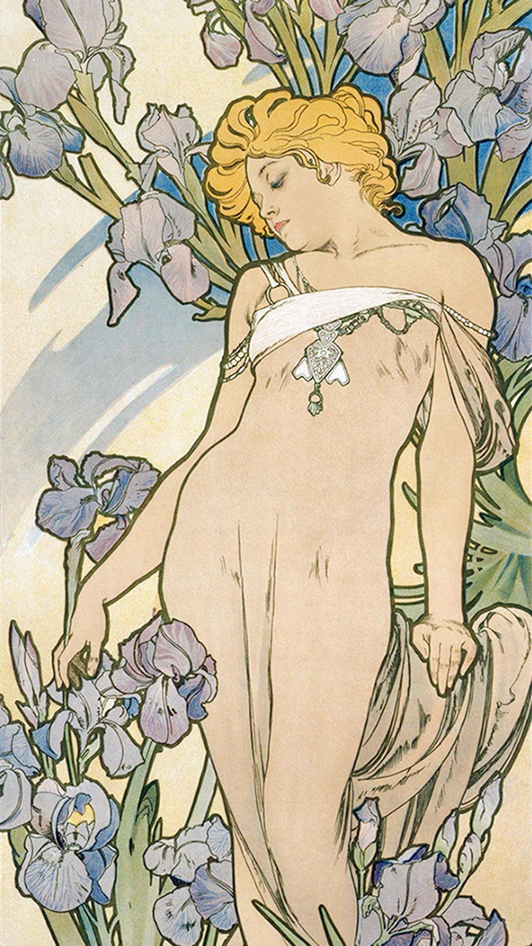 ミュシャ 四つの花 アイリス Alfons Mucha - Four flowers iris 1080x1920