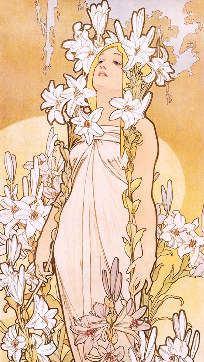 アルフォンス・ミュシャ 四つの花 ユリ Alfons Mucha - Four flowers lily 1080x1920