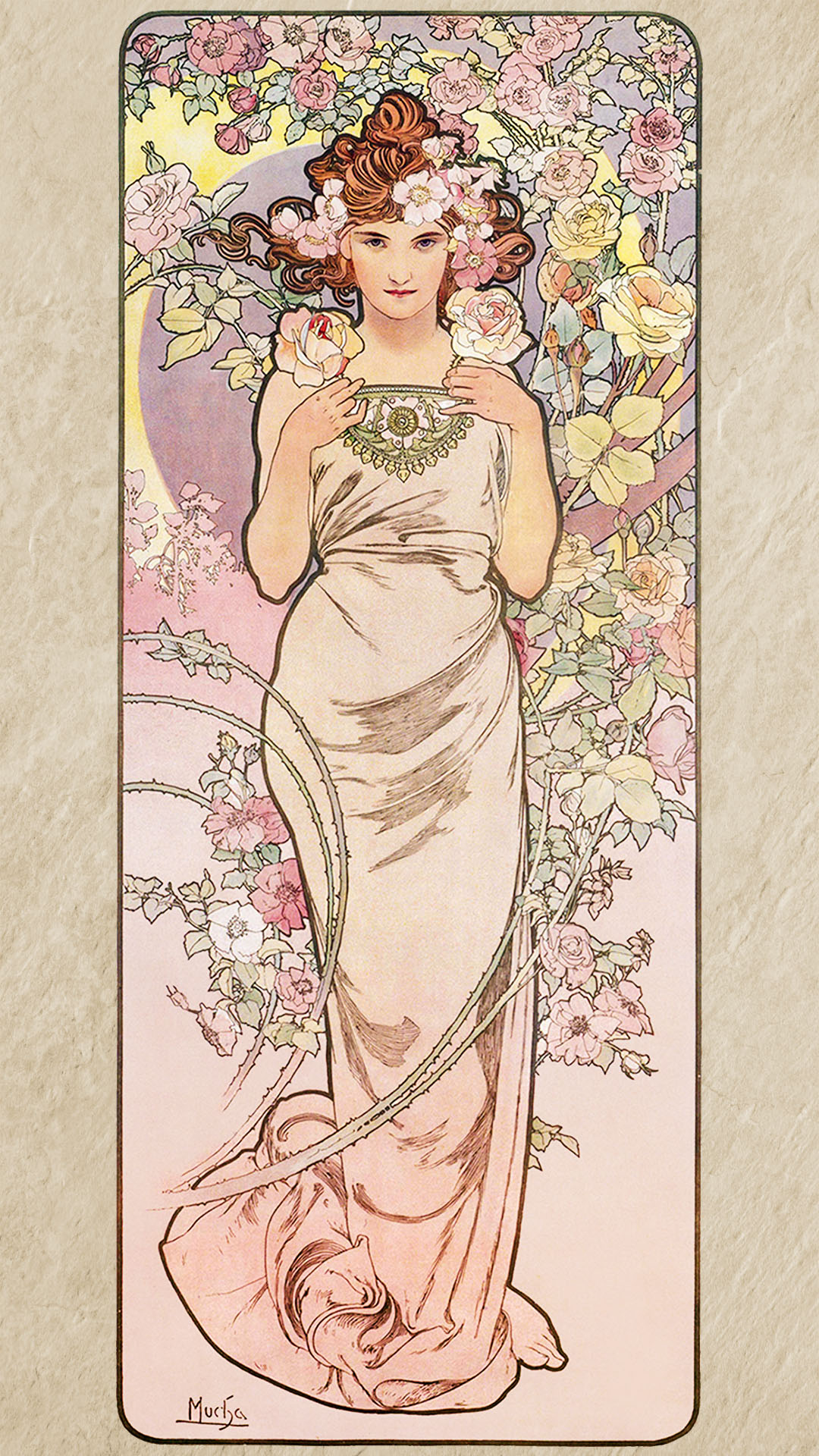 ミュシャ 四つの花 バラ Alfons Mucha - Four flowers rose 1080x1920 2