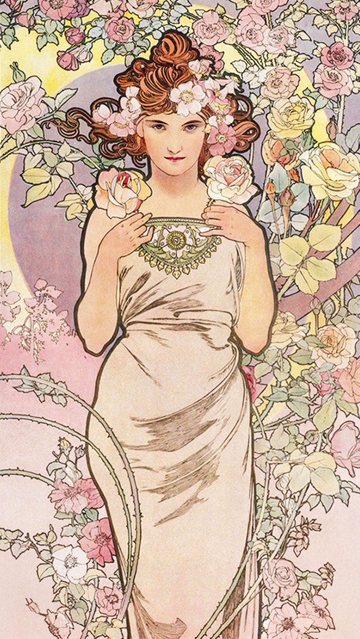 ミュシャ 四つの花 バラ Alfons Mucha - Four flowers rose 1080x1920