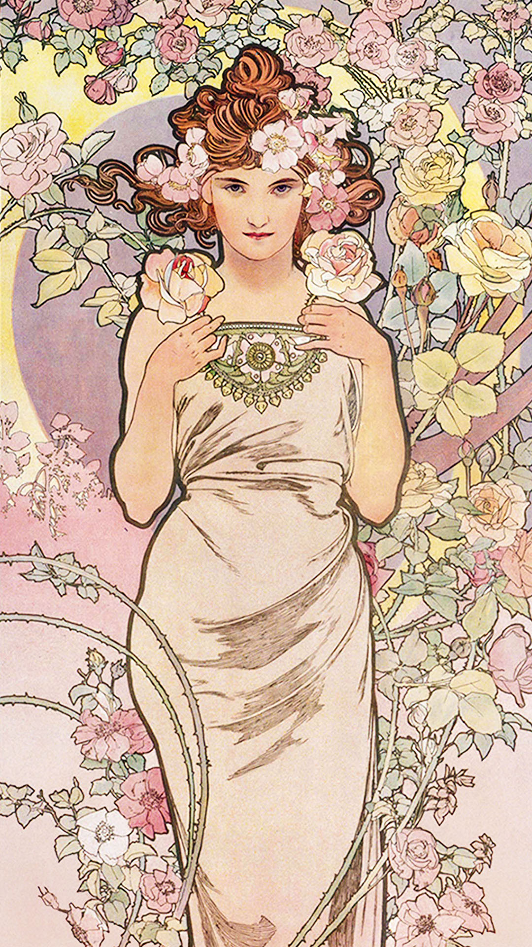 ミュシャ 四つの花 バラ Alfons Mucha - Four flowers rose 1080x1920