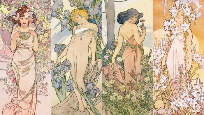 アルフォンス・ミュシャ 四つの花 Alfons Mucha - The Flowers Series 1920x1080 2