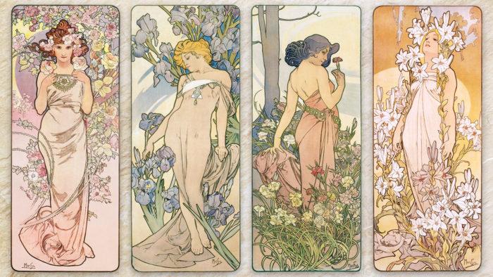 アルフォンス・ミュシャ 四つの花 Alfons Mucha - The Flowers Series 1920x1080
