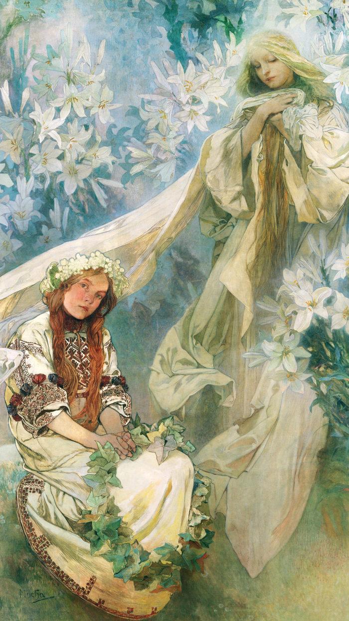 ミュシャ 百合の聖母 Alphonse Mucha - Madonna of the Lilies 1080x1920