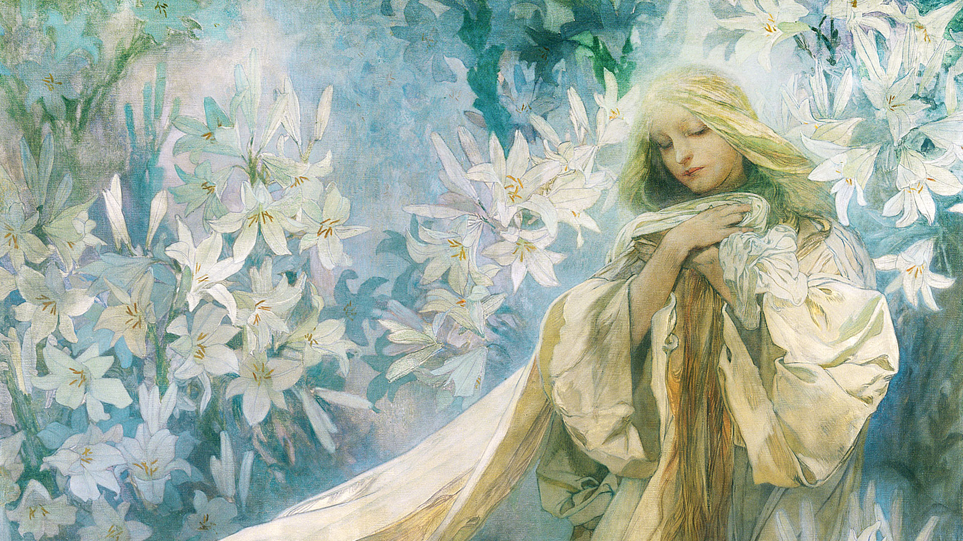 Alphonse Mucha - Madonna of the Lilies 1920x1080