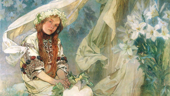 Alphonse Mucha - Madonna of the Lilies 1920x1080 2