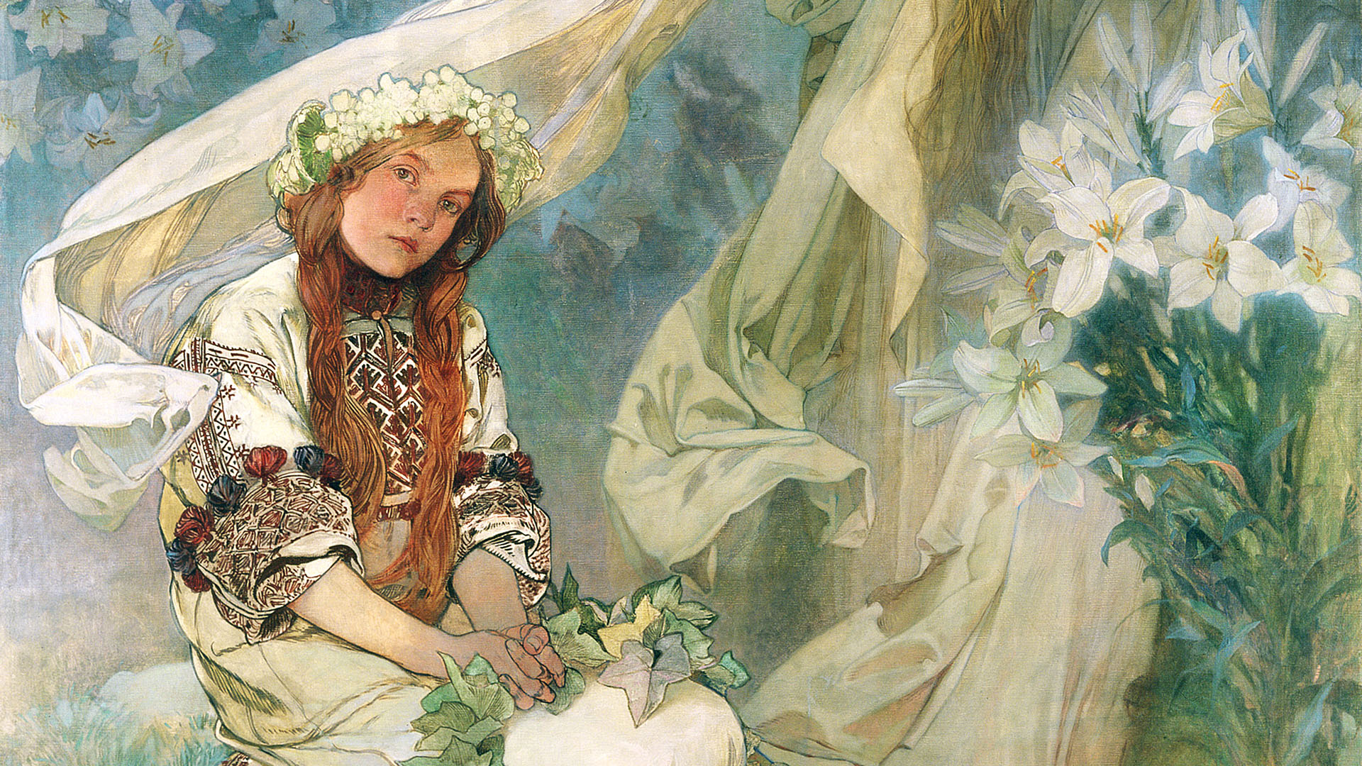 Alphonse Mucha - Madonna of the Lilies 1920x1080 2