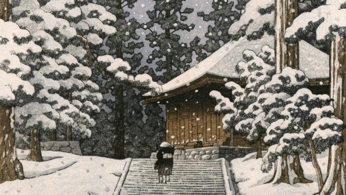 川瀬巴水 平泉金色堂 Kawase Hasui - Hiraizumi konjikido 1920x1080