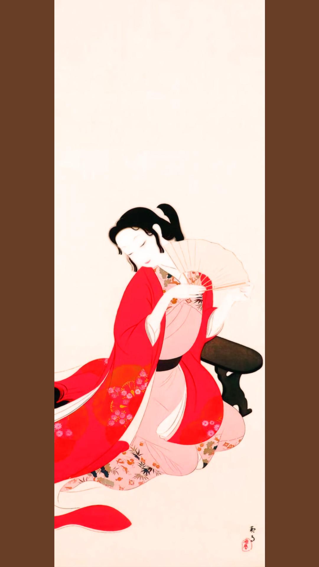 菊池契月 元禄美人 Kikuchi Keigetsu - Genroku bijin 1080x1920 2