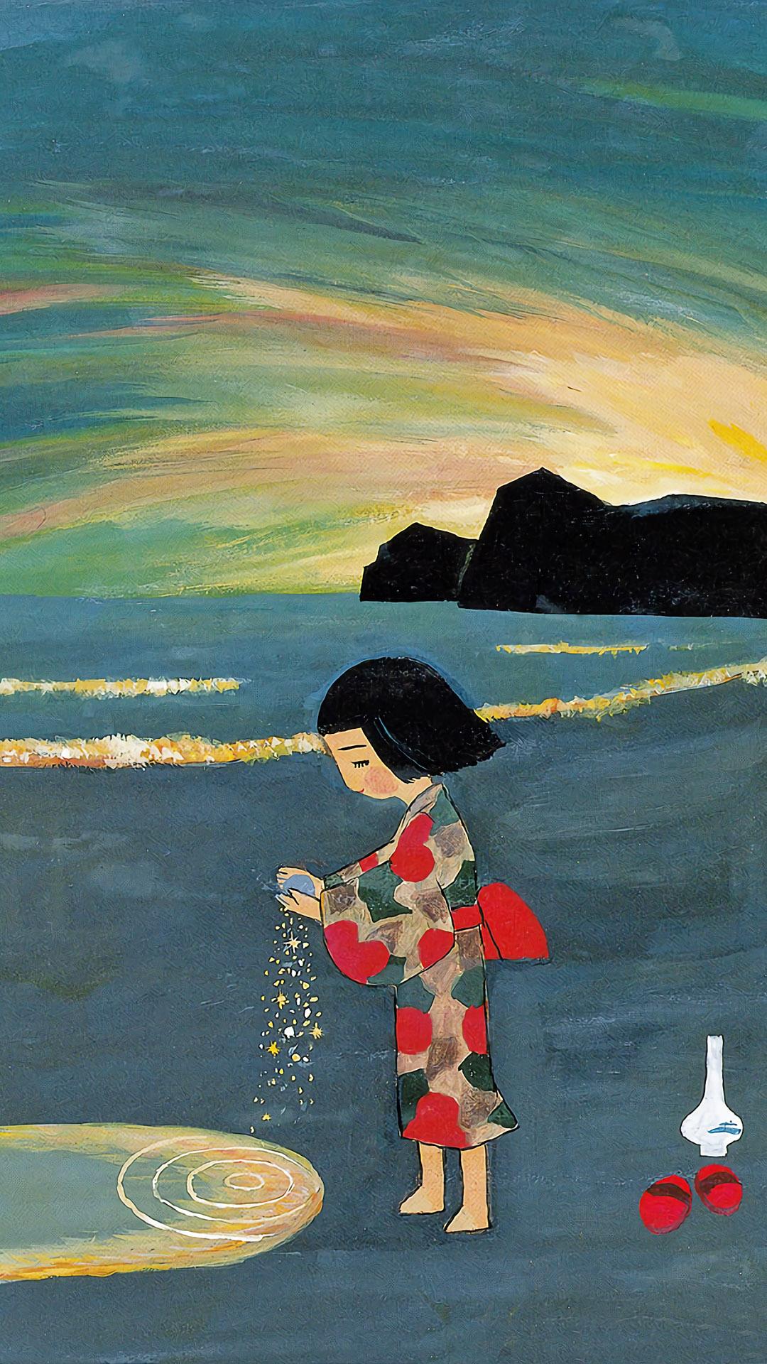 谷内六郎 金の砂 銀の砂 Taniuchi Rokuro- Kin no suna gin no suna 1080x1920