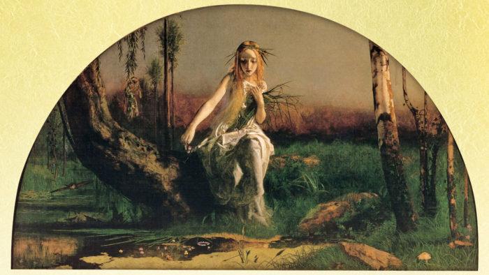 アーサー・ヒューズ オフィーリア Arthur Hughes - Ophelia 1920x1080