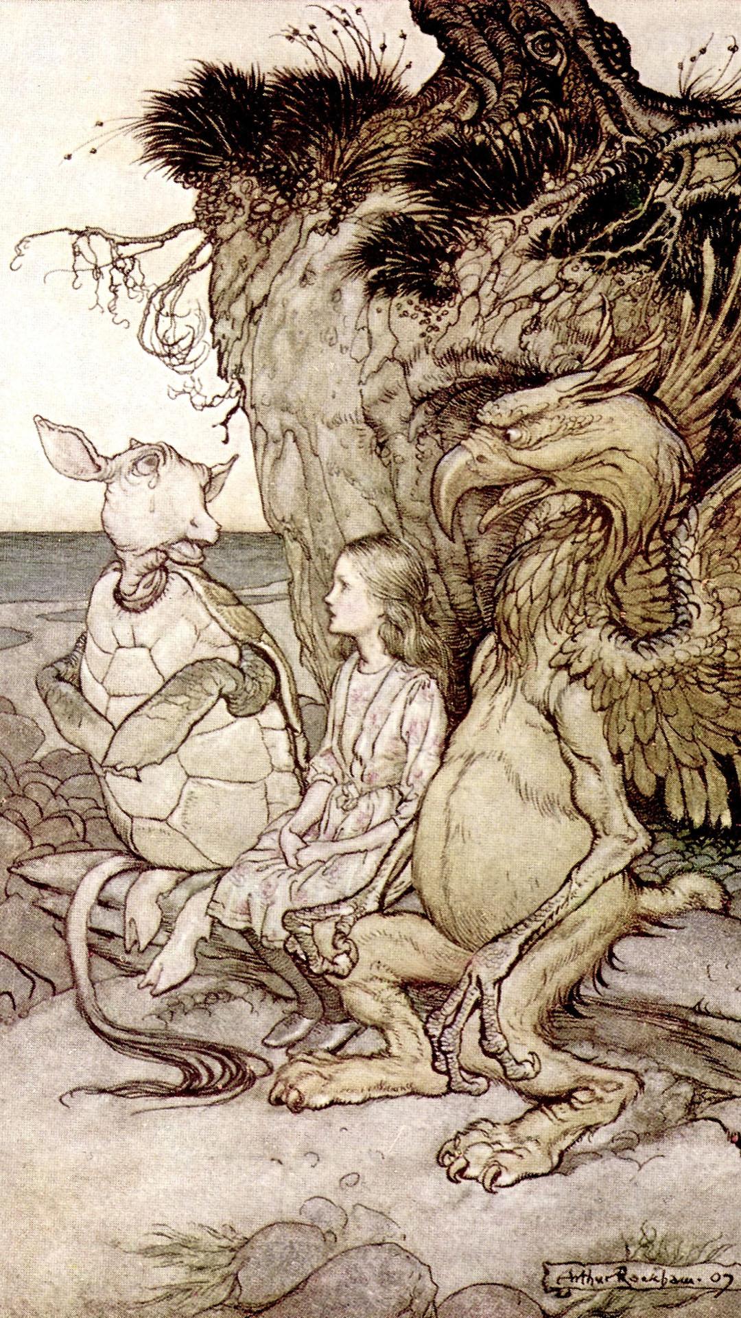 アーサー・ラッカム アリス Arthur Rackham - Alice The Gryphon and the Mock Turtle 1080x1920
