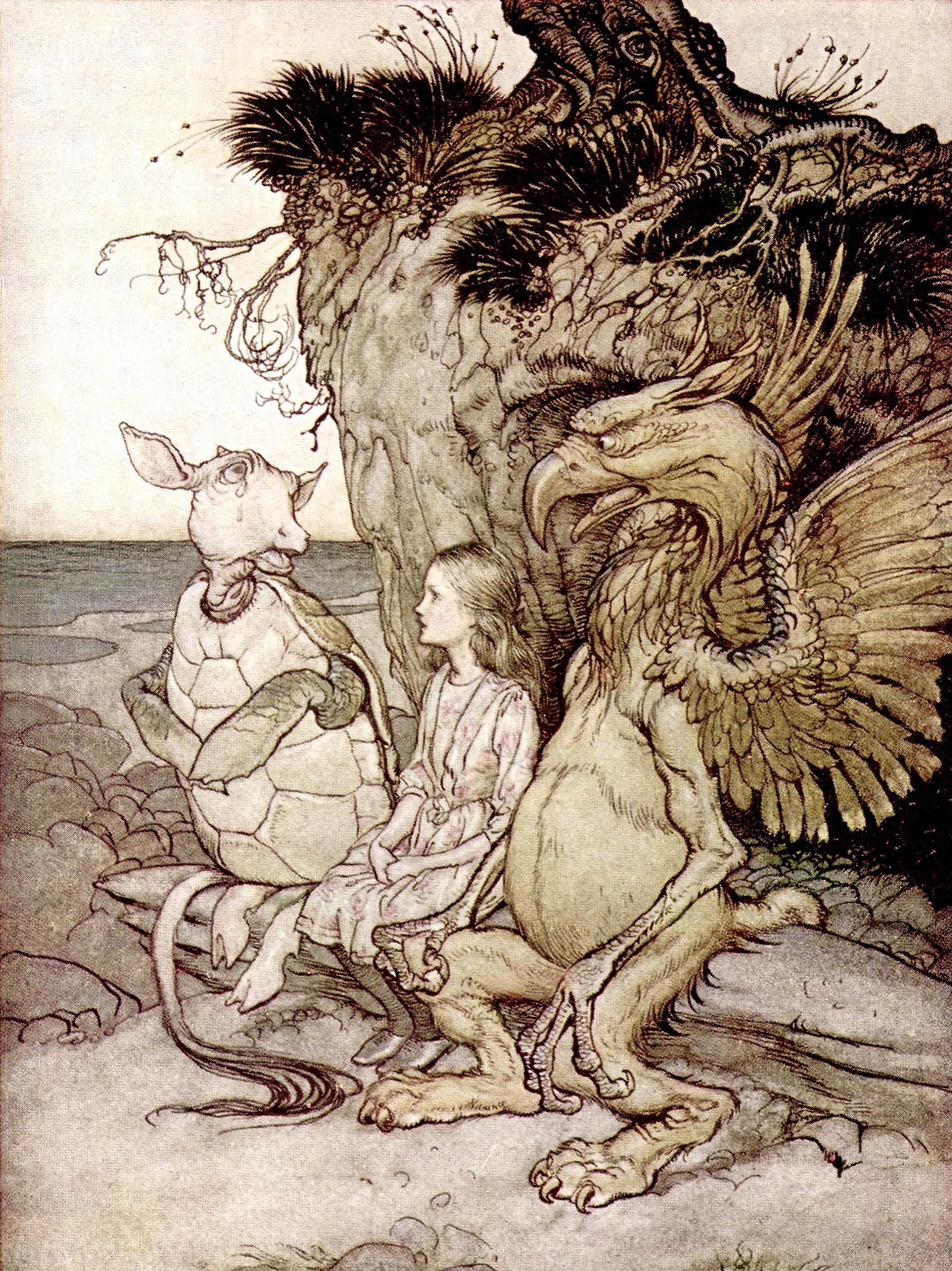Arthur Rackham - Alice The Gryphon and the Mock Turtle 2048x2732