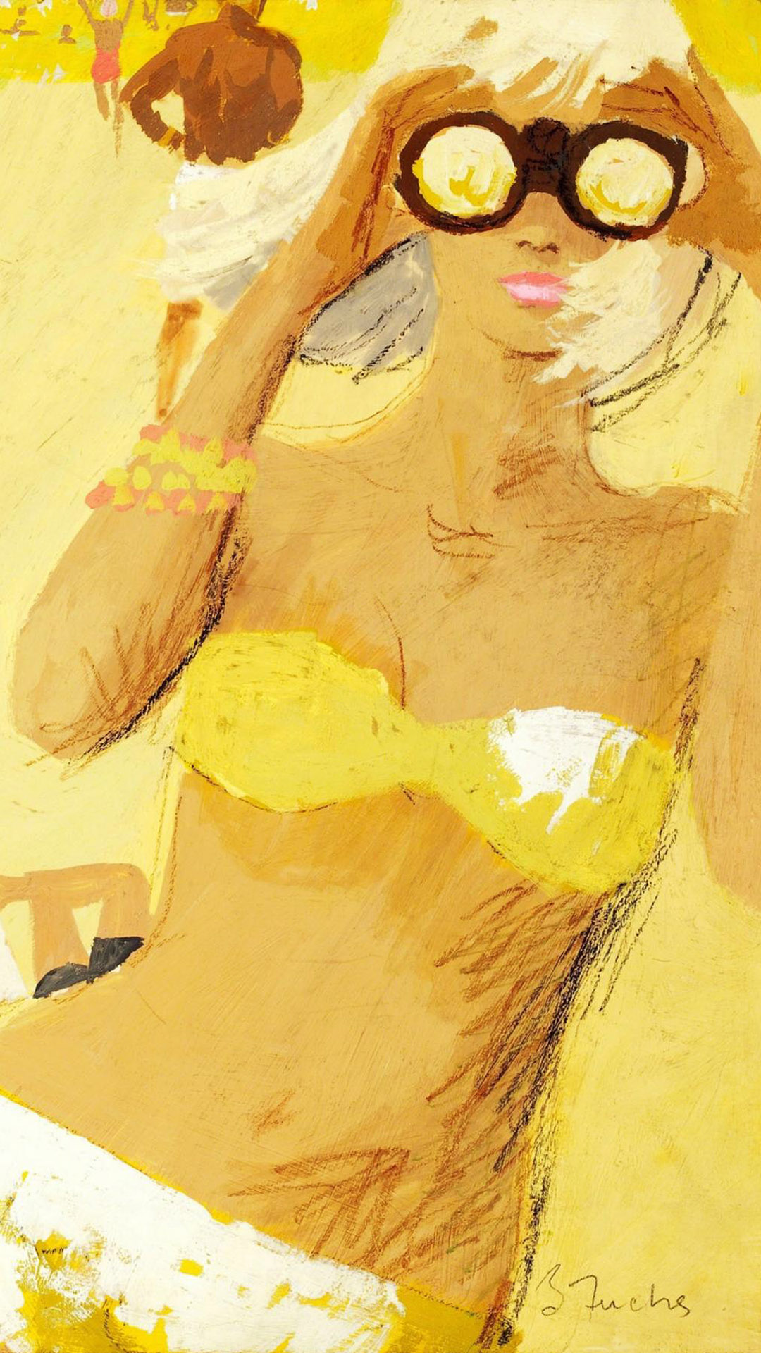 バーニー・フュークス Bernie Fuchs - Girl with Binocular 1080x1920