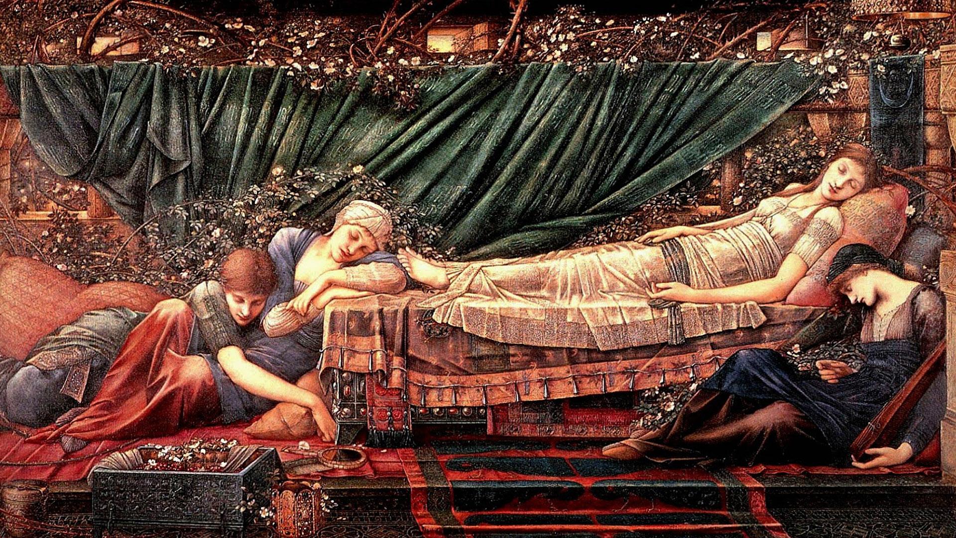 エドワード・バーン=ジョーンズ Edward Burne-Jones - The Rose Bower 1920x1080
