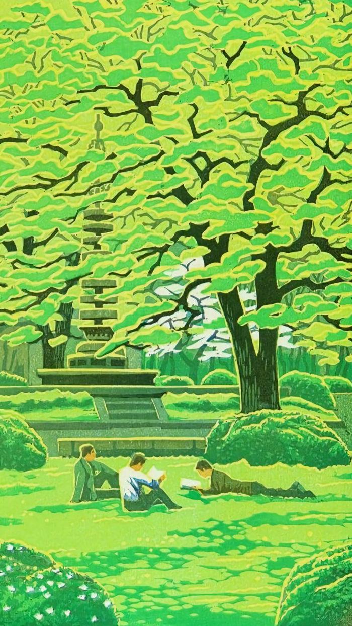 笠松紫浪 学園の春 Kasamatsu Shiro - Gakuen no haru 1080x1920