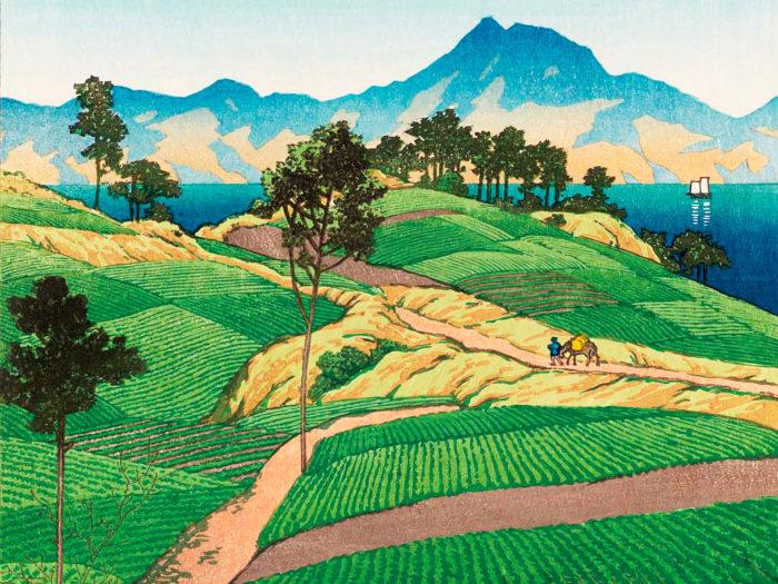 川瀬巴水 天草より見たる温泉ケ嶽 Kawase Hasui - Amakusa yori mitaru onsengatake 2732x2048