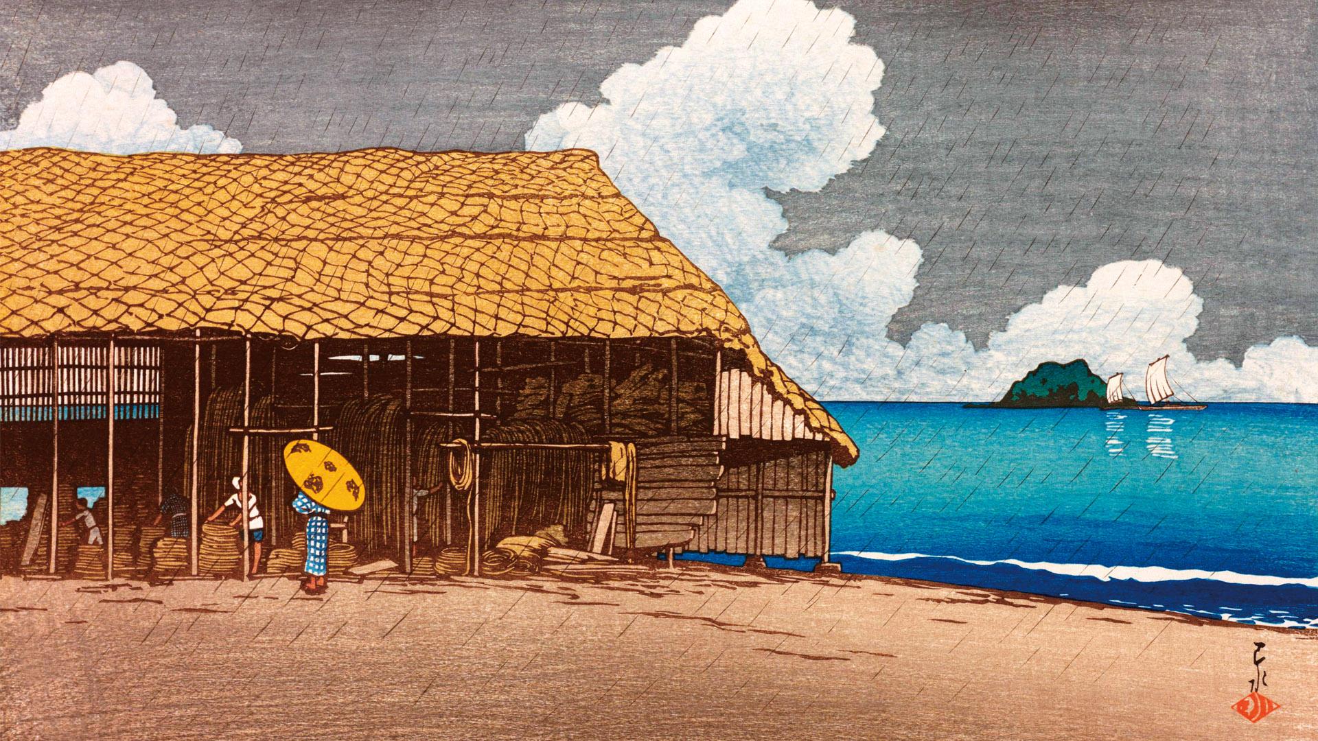 旅みやげ第二集 浜小屋 越中氷見 Kawase Hasui - tabimiyage2 hamakoya 1920x1080