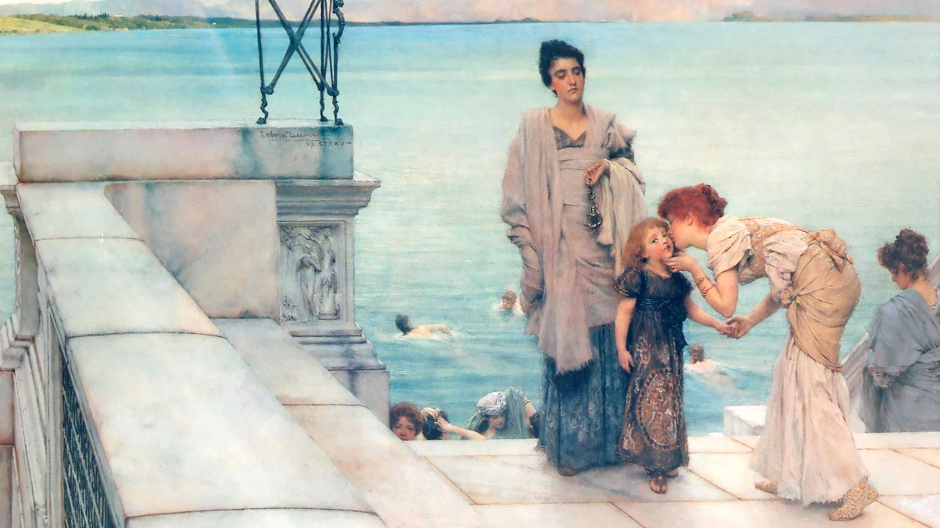 ローレンス・アルマ=タデマ Lawrence Alma-Tadema - A Kiss 1920x1080