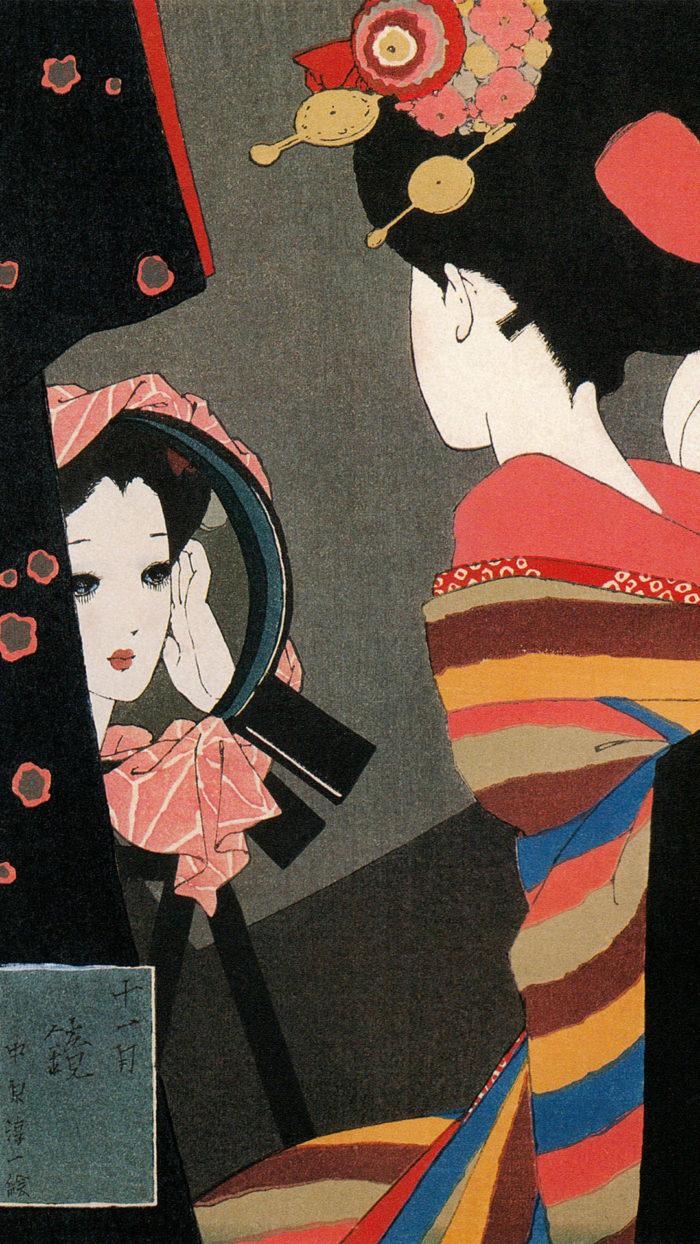 中原淳一 / 娘十二ヶ月絵巻 十一月 鏡 Nakahara Junichi - Musume 12 emaki 11 Kagami 1080x1920