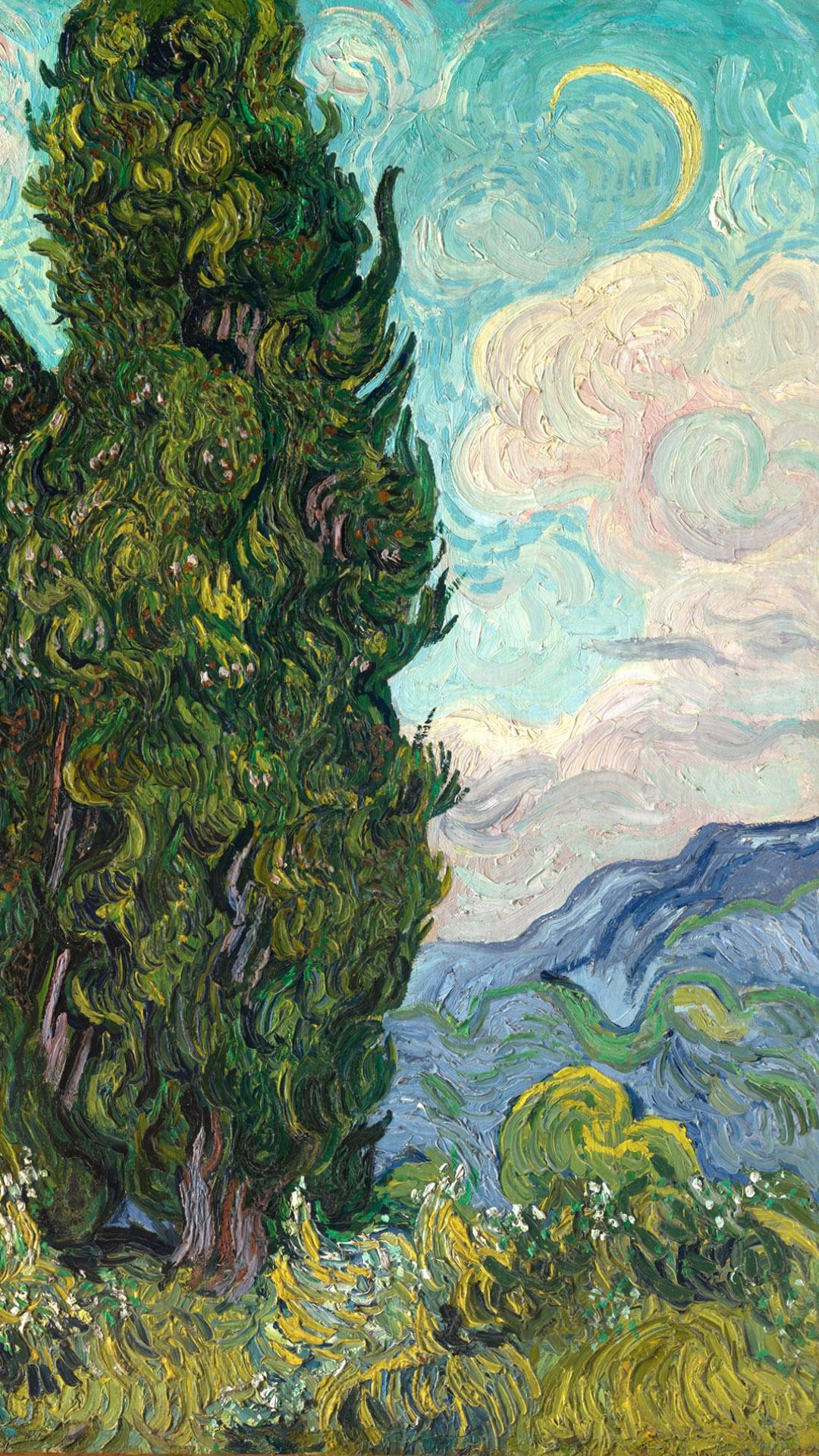 ゴッホ 糸杉 Vincent van Gogh - Cypresses 1080x1920