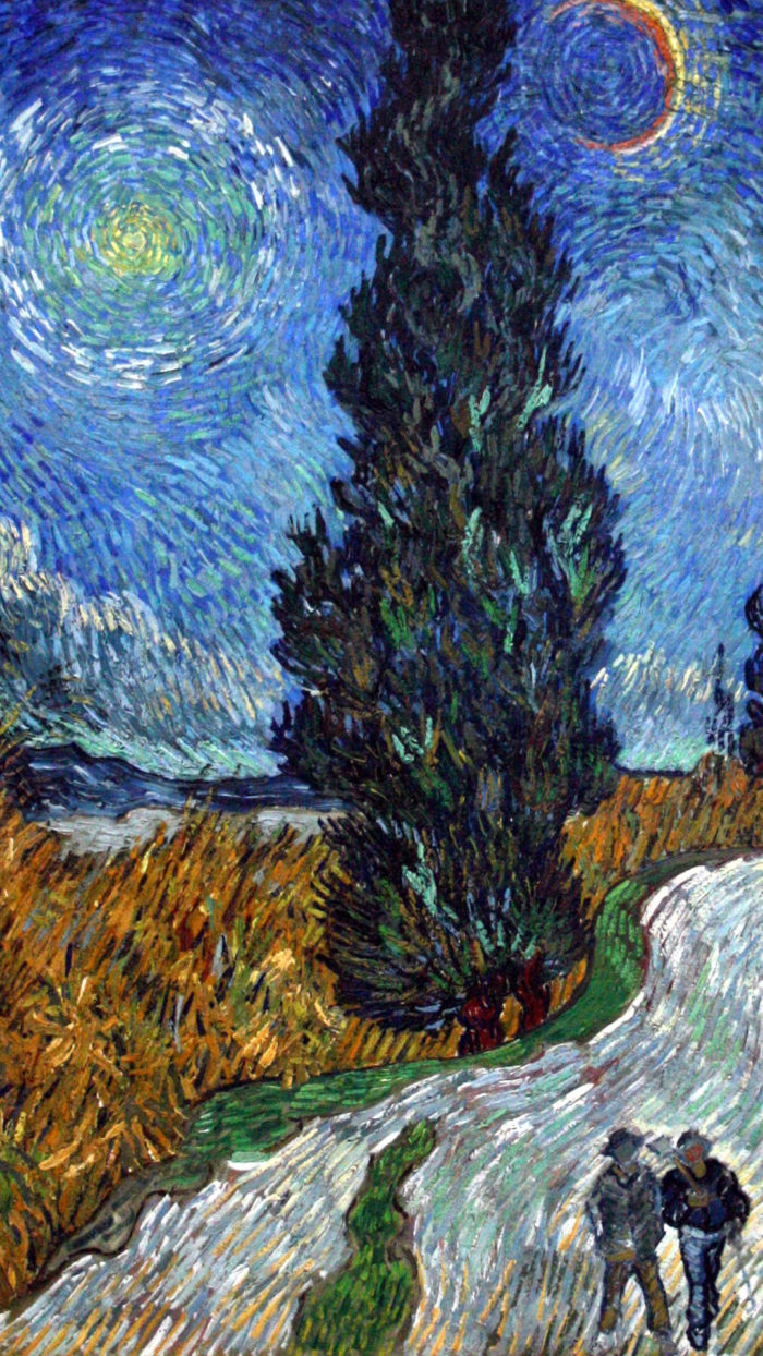 Vincent van Gogh - Road with Cypress and Star 1080x1920
