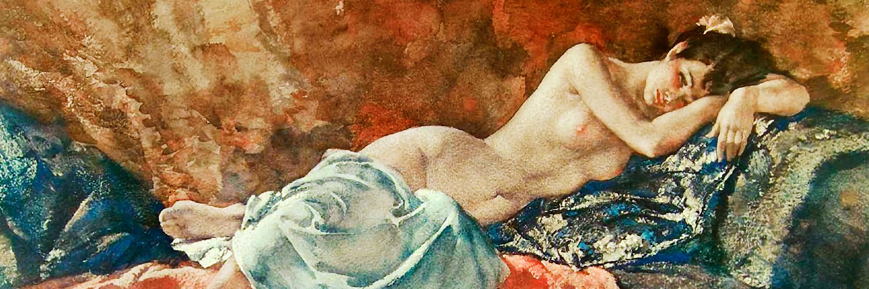 William Russell Flint - Reclining Nude II 1500x500