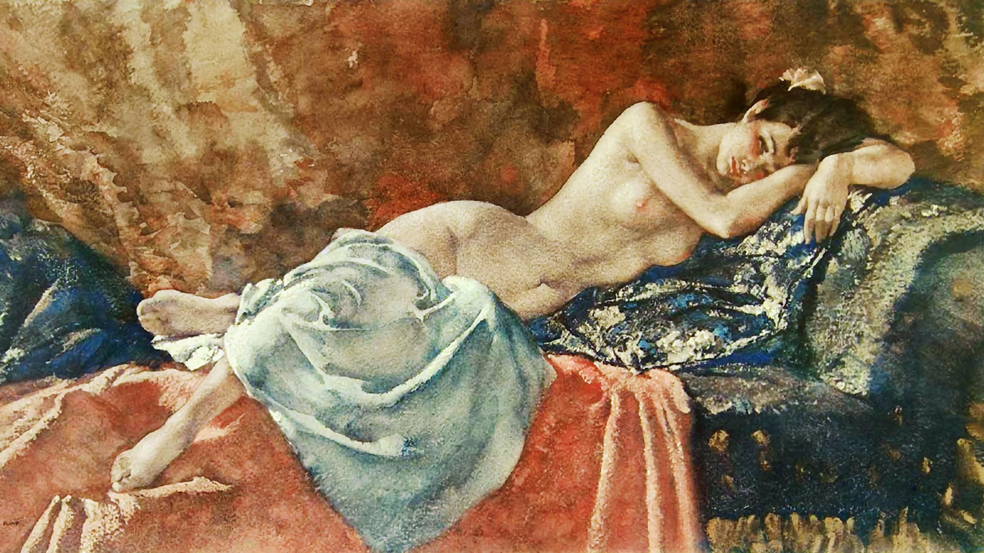 ウィリアム・ラッセル・フリント William Russell Flint - Reclining Nude II 1920x1080