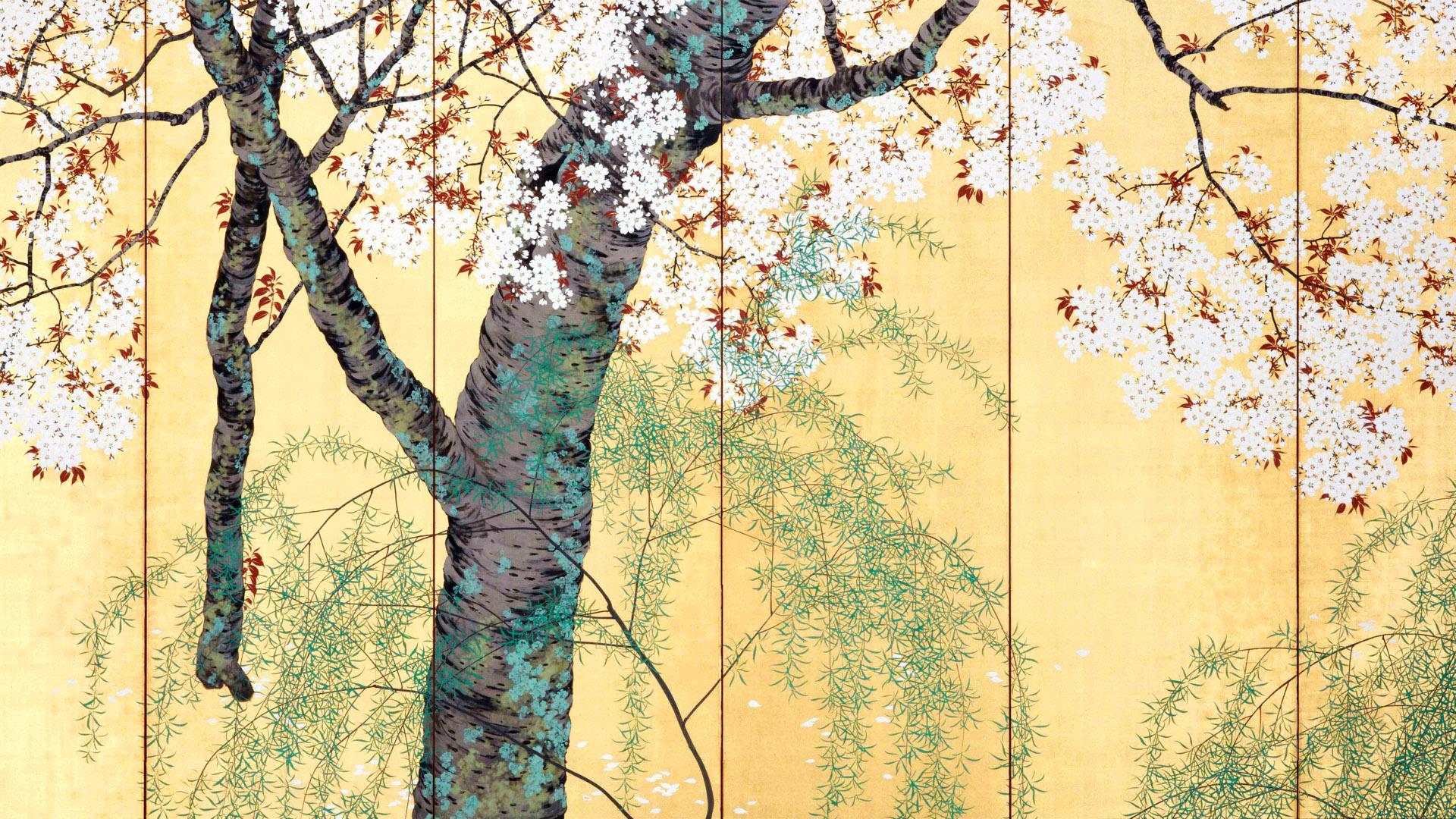 木島桜谷 柳桜図 左 konoshima okoku - Yanagizakura zu hidari 1920x1080