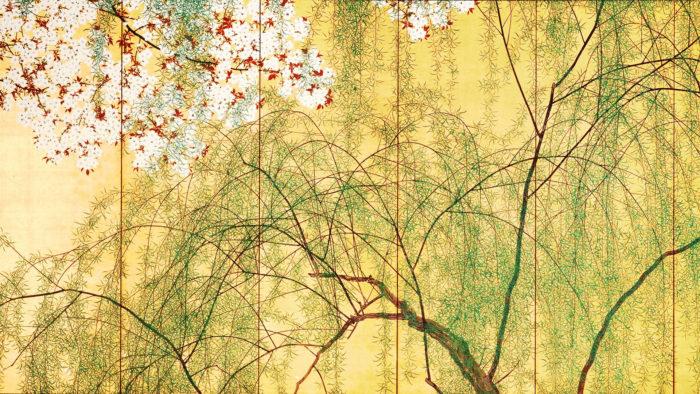 木島桜谷 柳桜図 右 konoshima okoku - Yanagizakura zu migi 1920x1080