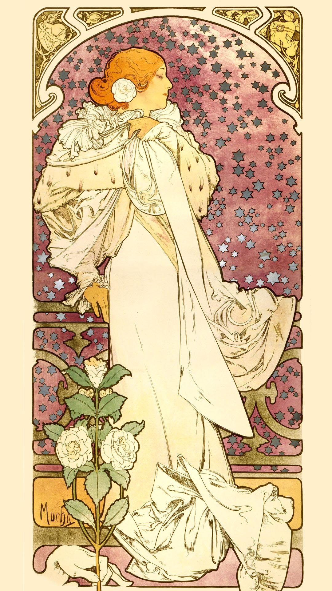 Alfons Mucha - La Dame aux Camélias 1080x1920 2