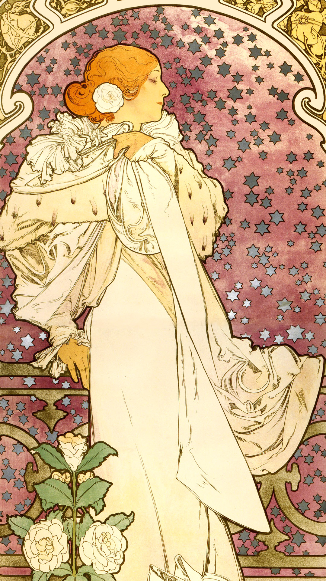 ミュシャ 椿姫 Alfons Mucha - La Dame aux Camélias 1080x1920