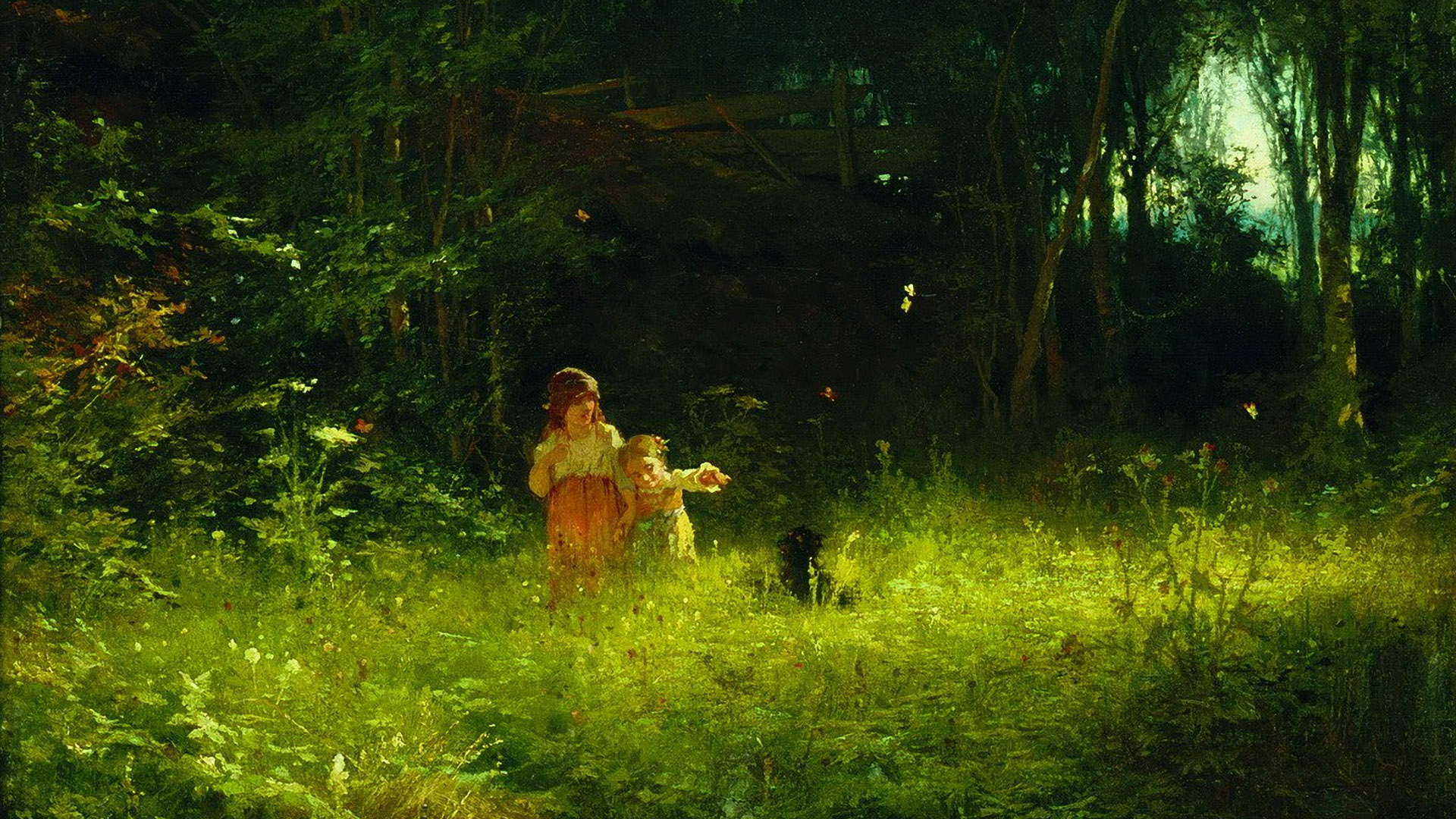 Ivan Kramskoy - Children in the woods 1920x1080