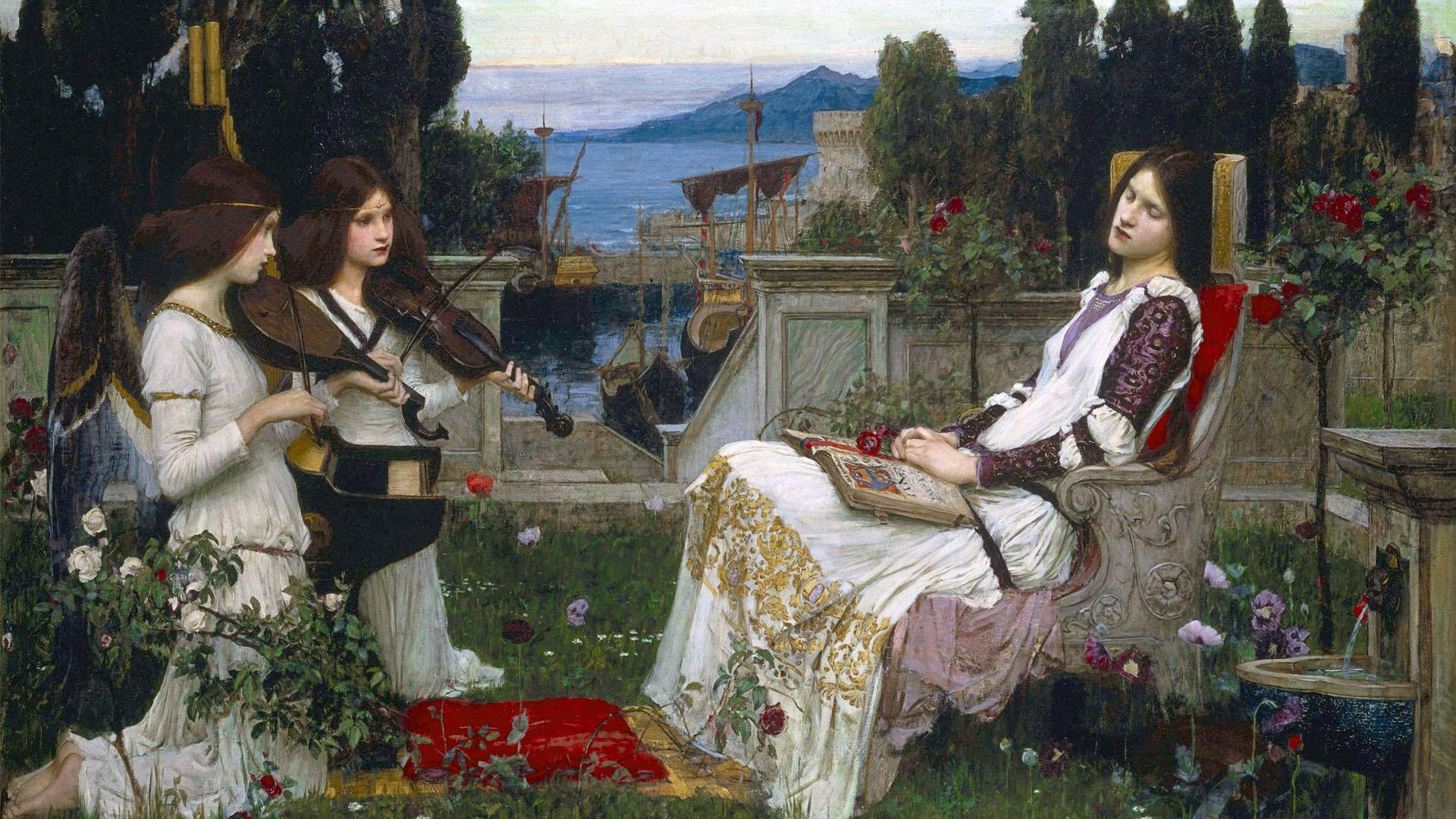 ウォーターハウス 聖セシリア John William Waterhouse - Saint Cecilia 1920x1080