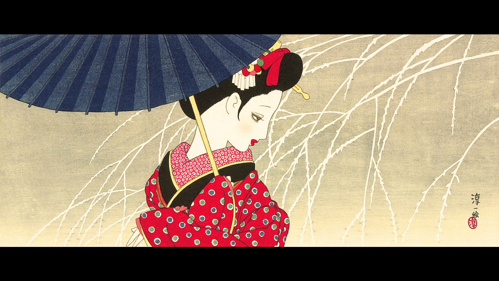 Nakahara Junichi - Maiko to kasa 1920x1080