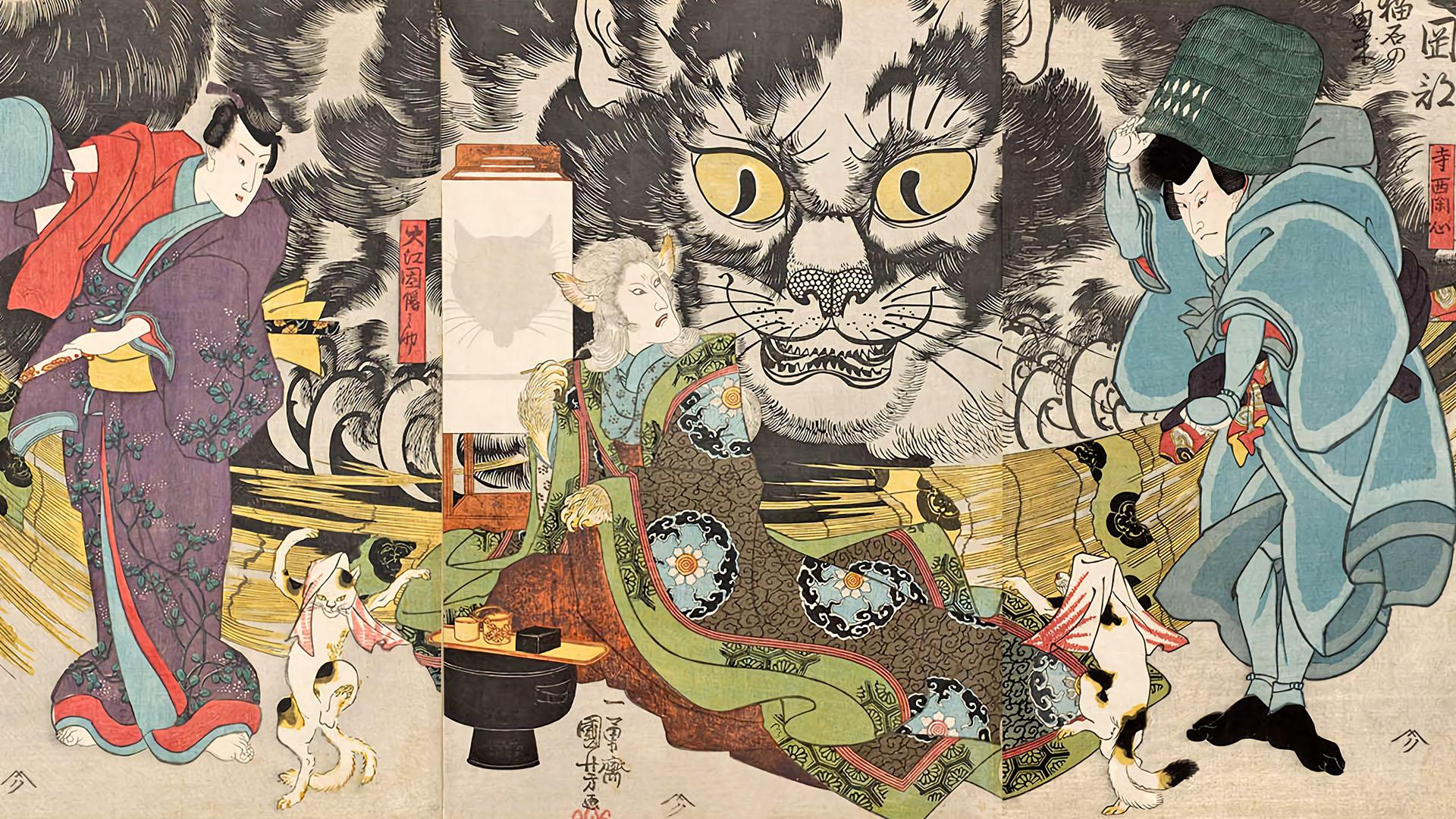歌川国芳 Utagawa Kuniyoshi - Nekoishi no yurai 1920x1080