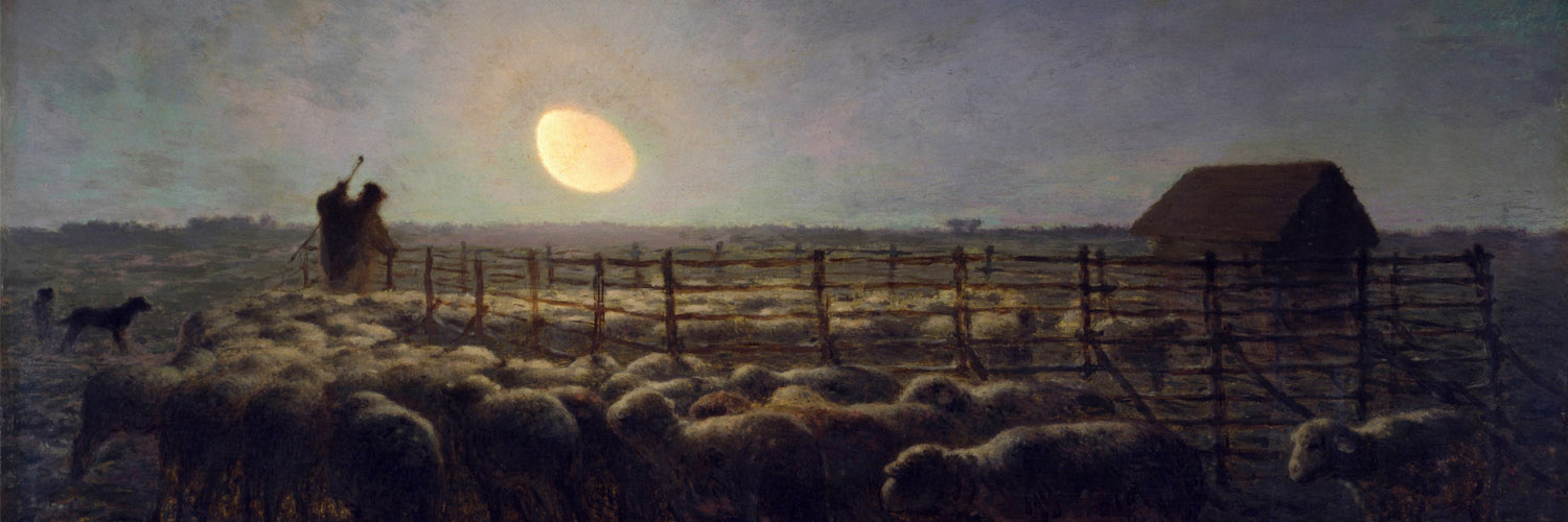 Jean-François Millet - The Sheepfold Moonlight 1500x500