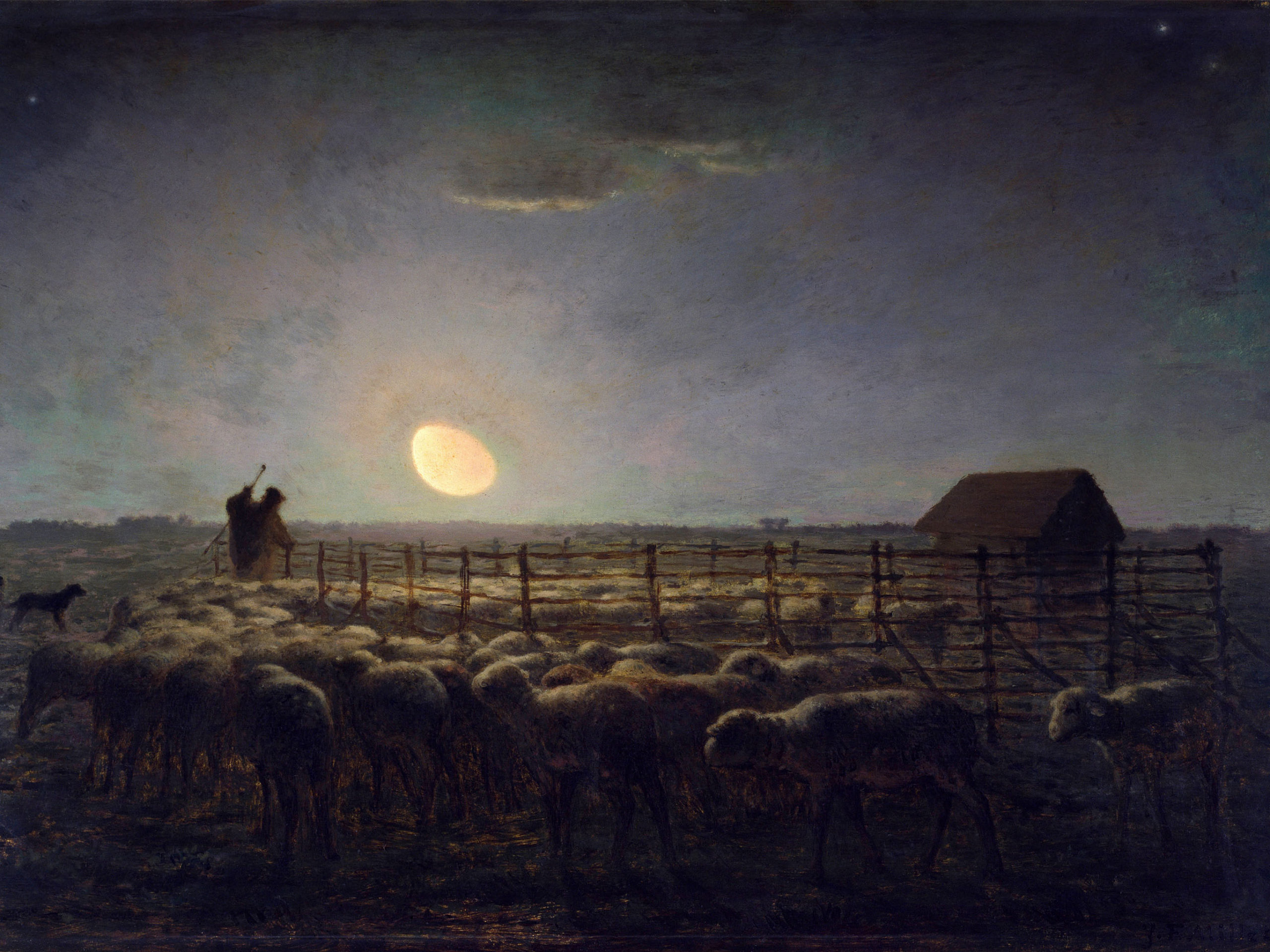 Jean-François Millet - The Sheepfold Moonlight 2732x2048