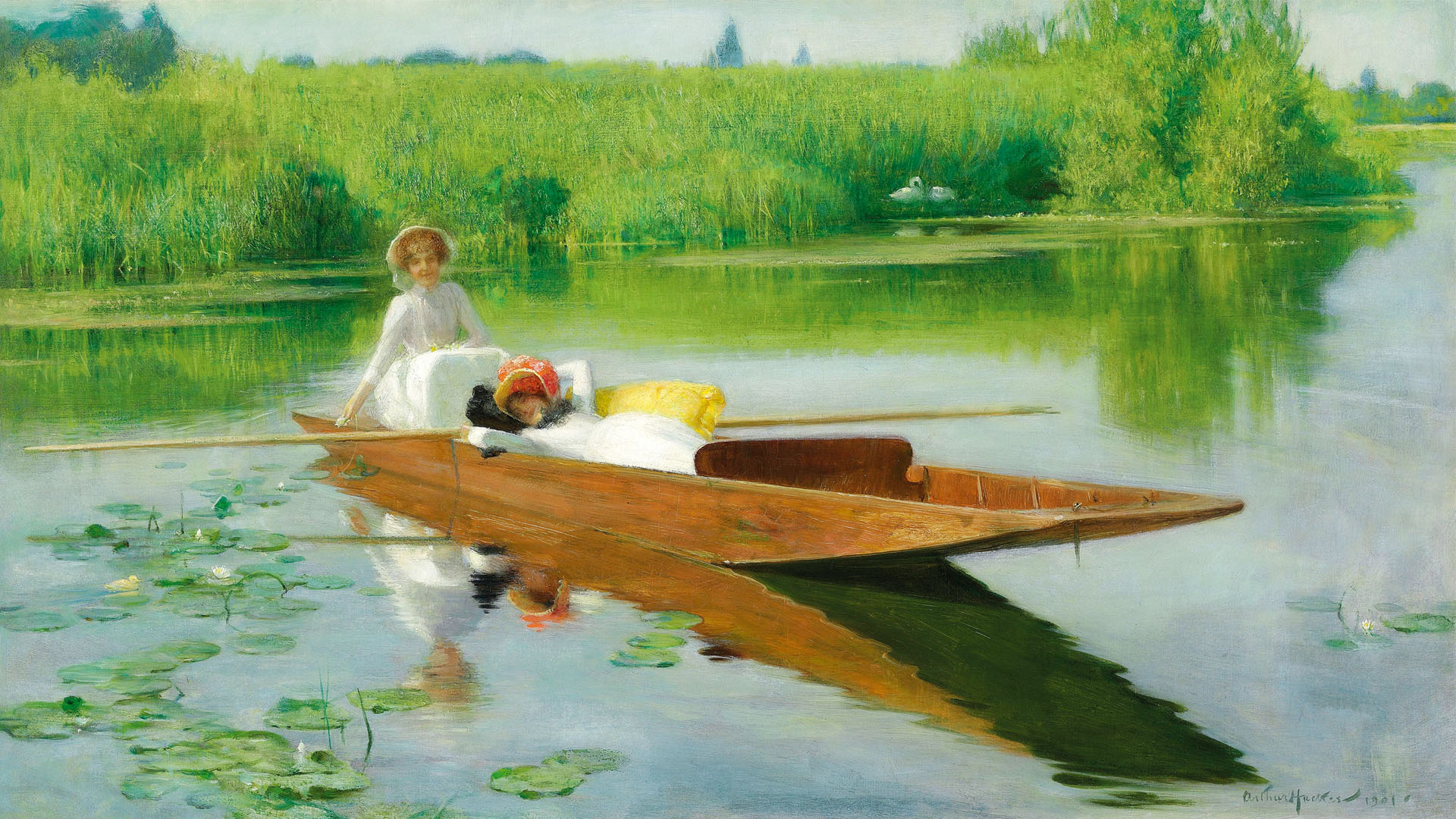 Arthur Hacker - Punting on the Thames 1920x1080