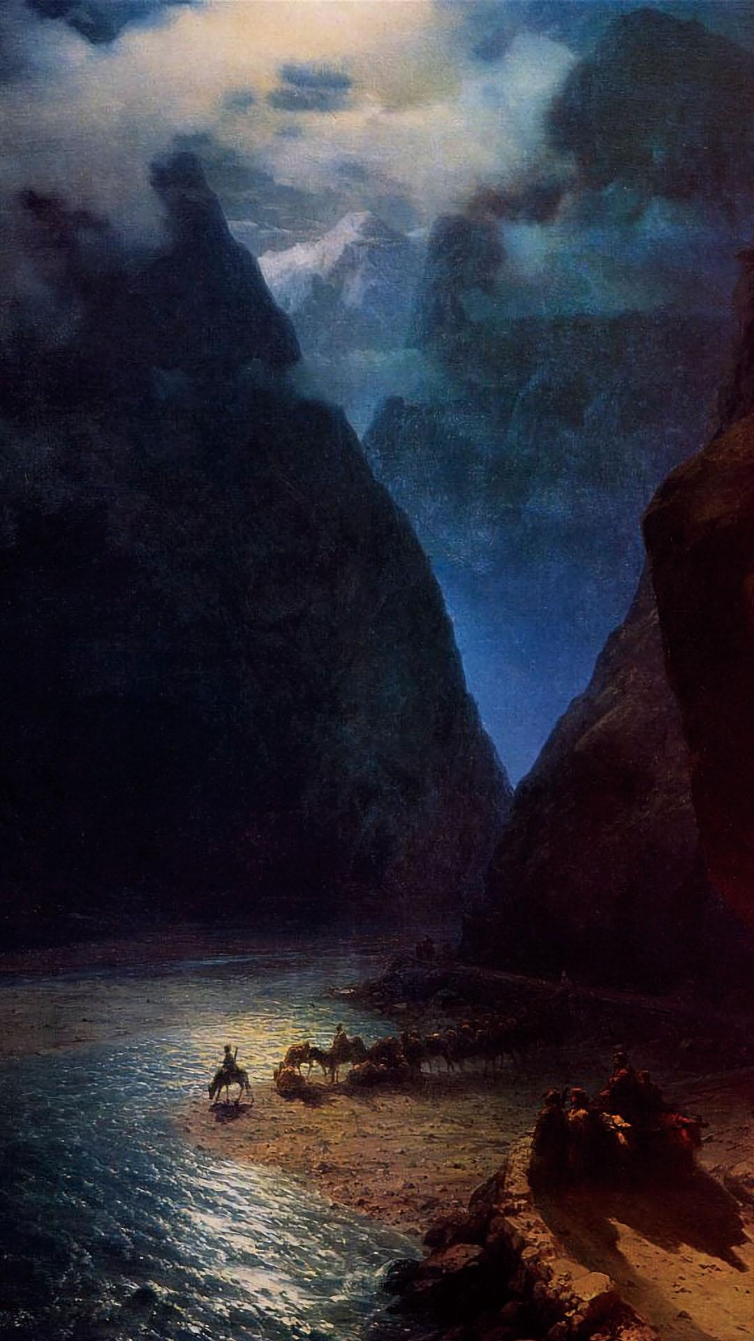 アイヴァゾフスキー ダリアル渓谷 Ivan Aivazovsky - Darial Gorge 1080x1920