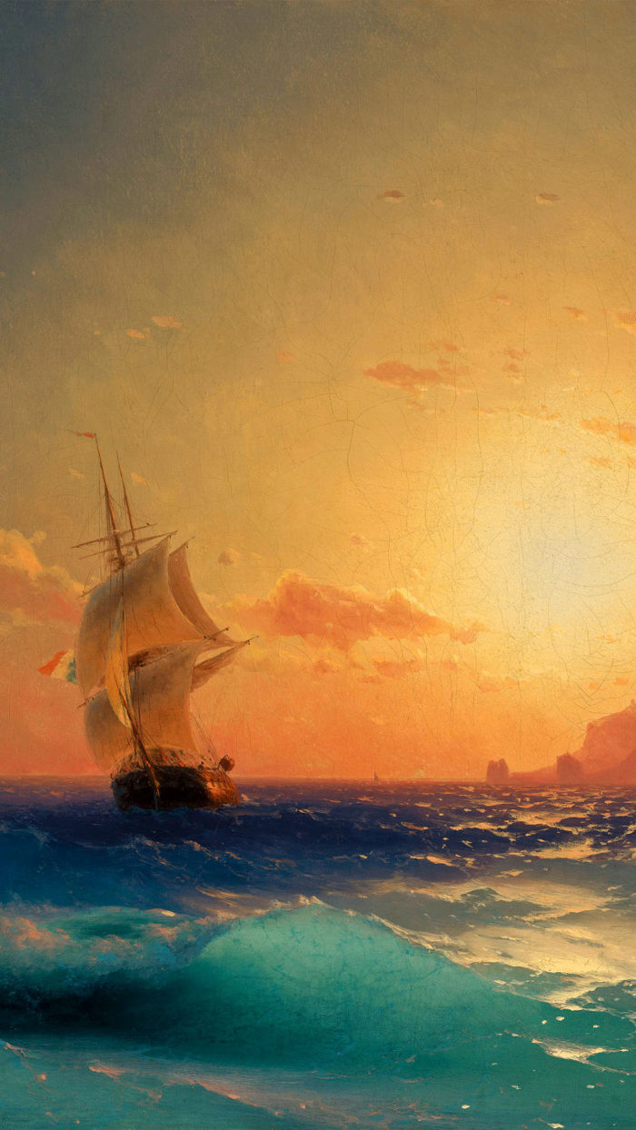 Ivan Aivazovsky Sunset over ischia 1080x1920
