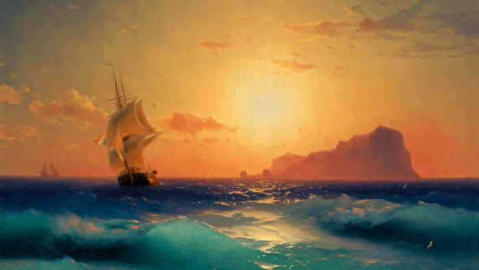 アイヴァゾフスキー Ivan Aivazovsky Sunset over ischia 1920x1080