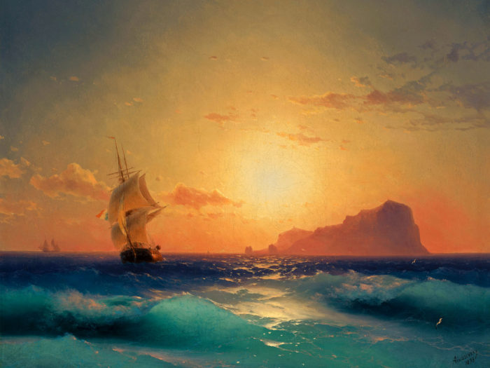 Ivan Aivazovsky Sunset over ischia 2732x2048